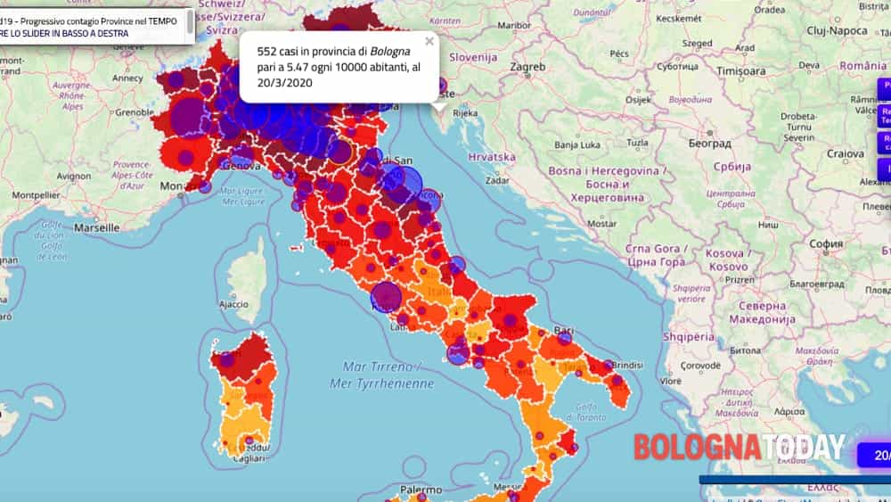 Bologna Cartina Geografica.Mappa Coronavirus Italia Dati Aggiornati Quotidianamente