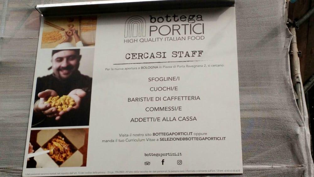 Lavoro, Bottega Portici cerca cuochi, barman e commessi ...